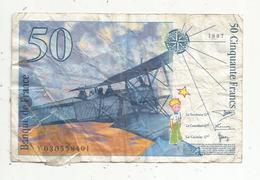 Billet , 50 , Cinquante Francs , SAINT EXUPERY , 1997 , 2 Scans - 1992-2000 Last Series