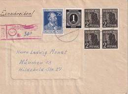 ALLEMAGNE 1947 ZONE AAS LETTRE RECOMMANDEE DE BIESSENHOFEN AVZEC CACHET ARRIVEE MUNICH - Zone AAS