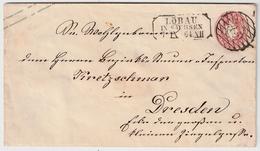 """Sachsen, 1864, Nr. Stp. """"45"""" - Löbau, Klar, #a392 - Sachsen"""