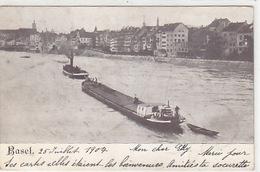 Rheinfrachter Mit Schlepper Bei Basel - 1904 - Nicht Häufig           (P-149-71130) - Remorqueurs