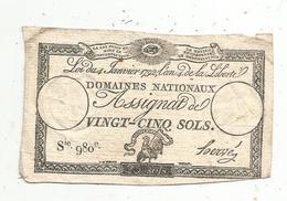 Assignat 1792 , VINGT CINQ SOLS ,25 , L'an 4 De La Liberté, Signé Hervé , Serie 980 E - Assignats