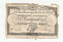 Assignat 1792 , VINGT CINQ SOLS ,25 , L'an 4 De La Liberté, Signé Hervé , Serie 1914 E - Assignats
