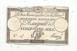 Assignat 1792 , VINGT CINQ SOLS ,25 , L'an 4 De La Liberté, Signé Hervé , Serie 14 E - Assignats