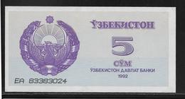 Ouzbékistan - 5 Sum - Pick N°63 - NEUF - Ouzbékistan