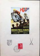 1938: Seltene Farbkarte Zum Grossen Preis Von Europa Am Sachsenring Auf A4 Blatt Mit Meissener Schwertern Und 12 Pfg. Hi - Motorräder