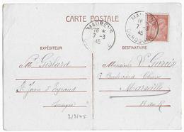 """1945 - IRIS Sur CARTE ENTIER """"PETAIN"""" RECUPEREE De MAURENS (DORDOGNE) => MARSEILLE - Postmark Collection (Covers)"""
