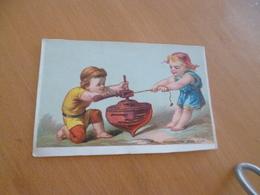 Chromo Ancien Publicitaire  XIXème Enfants Jouet Ancien Toupie Allons, Tire Fort - Autres