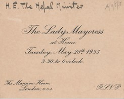 LORD MAYOR OF LONDON NEPALESE AMBASSADOR MANSION HOUSE 1935 - Tickets - Vouchers