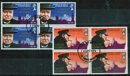 South Georgia 1974 Four Sets Of Stamps In Blocks For The Birth Centenary Of Winston Churchill In Fine Used Condition. - South Georgia