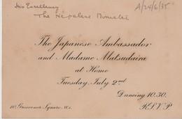 GREAT BRITAIN JAPANESE AMBASSADOR NEPALESE ENVOY 1935 - Tickets - Vouchers