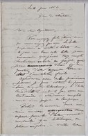 """Une Lettre De 1856 De """"Butler' à Bord Du Navire De Guerre «Bisson», Au Capitaine Mouches..   Ref 0537 - Autographs"""