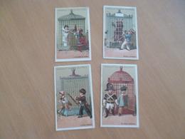 4 Chromos Anciens Publicitaires Chocolat Guerin Boutron Série Aux Oiseaux - Guérin-Boutron