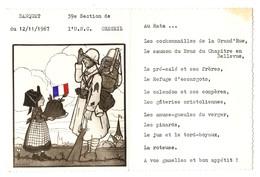 MENU BANQUET 12 NOVEMBRE 1967 UNION NATIONALE DES COMBATTANTS 39 ème SECTION CRÉTEIL - AU RATA - Menükarten