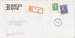 Norway Registered Bank Cover Sent To Denmark Maalöy 9-12-1977 - Norway