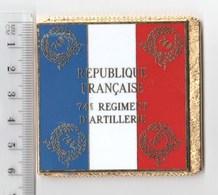 DRAPEAU 74° RA REGIMENT D' ARTILLERIE  En Métal Doré - Drapeaux