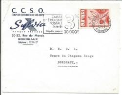 OBLITERATION MECANIQUE DE LETTRE DE BORDEAUX GARE 1966 - Marcophilie (Lettres)