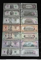 LOT DE 7 BILLETS ECHANTILLON 1/ 2/ 5/ 10/ 20 /50 /100 DOLLARS . NEUFS . - Andere