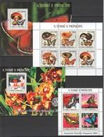 F610 2003,2004 S. TOME E PRINCIPE FAUNA INSECTS BUTTERFLIES MUSHROOMS 2KB+2BL MNH - Schmetterlinge