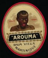"Ancienne Etiquette Rhum  Etiq Vernie  ""Arouma"" Rhum Vieux Martinique ""visage Homme"" Imp Plouviez Paris - Rhum"