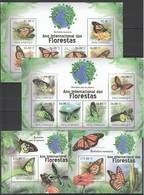 F631 2011 MOCAMBIQUE ANIMALS & FAUNA FLORESTAS BUTTERFLIES 2KB+2BL MNH - Schmetterlinge