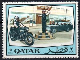 QATAR 1968 1v MNH Police Polizei Policía Polizia Cars Motos Motorcycles Automobiles Traffic - Politie En Rijkswacht