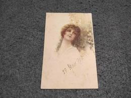 ANTIQUE POSTCARD ART DECO GIRL WITH TREE  SIGNED C. MONESTIERI CIRCULATED STAMP 1919 - Monestier, C.