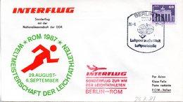 """(DDR-B2) DDR Sonderumschlag  """"INTERFLUG Weltmeisterschaften Der Leichtathleten Rom 1987"""" EF Mi 2541 SSt 26.8.1987 BERLIN - Briefe U. Dokumente"""