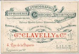 Imprimerie-Lithographie-Chromo Artistique Gve CLAVELLY & Cie  LILLE   - Carte Sur La Carte (107318) - Advertising