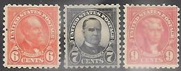 US  1925  Sc#587-8, 590   6c/7c/9c  Presidents  MH*     2016 Scott Value $27.75 - Neufs