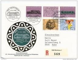 """74 - 45 - Enveloppe Suisse Recommandée Avec Oblit Spéciale """"Ferphilex 84"""" Montreux - Trains"""
