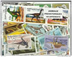 """Lot De 100 Timbres Thematique """" Dinosaures"""" - Préhistoriques"""