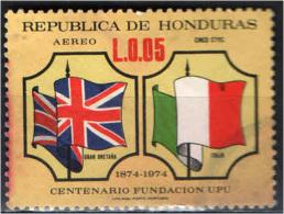 HONDURAS - 1975 - CENTENARIO DELL'UPU- BANDIERE DI GRAN BRETAGNA E ITALIA - USATO - Honduras