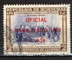 HONDURAS - 1953 - CRISTOFORO COLOMBO E ISABELLA LA CATTOLICA - USATO - Honduras