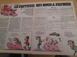 CLI518 : Pour Fans De GASTON LAGAFFE : Double Page RUBRIQUE Avec Dessins Non Repris Dans Des Albums - Gaston