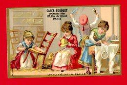 Cafés Fouquet, Jolie Chromo Lith. Bognard Cat Sorisi BOG3-35B L'utilité De La Paille, Rempaillage De Chaise - Autres