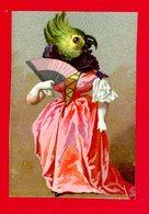 Jolie Chromo Lith. Bognard Cat Sorisi BOG4-1-2  Anthropomorphisme, Femme, éventail, Perruche - Autres