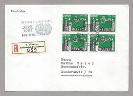"""Schweiz Suisse 1956: Zu 325 Mi 624 Yv 573 Block Auf R-Brief Mit O BRIG 18.MAI 1956 """"50 JAHRE SIMPLONTUNNEL - Trains"""