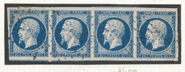 N°14 BANDE DE 4 TIMBRES VARIETE - 1853-1860 Napoléon III