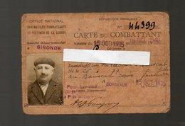 Bordeaux (33 Gironde) Carte Du Combattant 1935 (PPP13495) - Dokumente