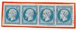 N°14  BLEU LAITEUX BANDE DE 4 TIMBRES SUR FRAGMENT - 1853-1860 Napoleon III
