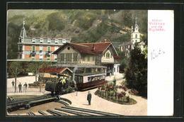 AK Station Vitznau Und Die Rigibahn - Chemins De Fer