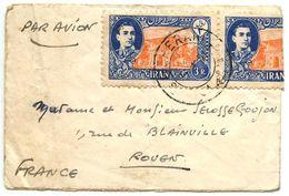 Iran 1951 Mini-Cover Tehran To Rouen France W/ Scott 925, Pair - Iran