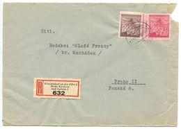 Czechoslovakia 1940's Registered Cover Königinhof An Der Elbe To Prague, Scott 260-261 - Czechoslovakia