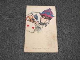 ANTIQUE POSTCARD ART DECO GIRL PLAYING CARD DECK  SIGNED NANNI UNUSED Nº1 - Nanni