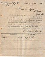VP12.409 - Facture - Cie BERGER & ROY Frères à PARIS - France