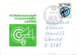 """(DDR-B2) DDR Sonderumschlag EF Mi 3047 """"44.Weltmeisterschaft Im Sportschießen Suhl 1986"""" SSt 6.9.1986 SUHL 1 - Shooting (Weapons)"""