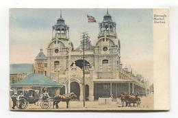 Durban - Borough Market, Horse Carriages - Early South Africa Postcard - South Africa