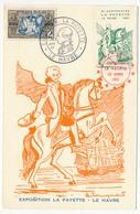 """Vignette """"Bicentenaire La Fayette - Le Havre 1957"""" Sur Carte Postale Philatélique, Obl Temporaire Exposition Lafayette - Covers"""