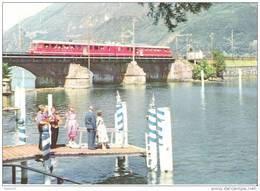 """Schweiz Suisse 1957: Zu 329b Mi 638 Yv 587 Bild-PK Mit SBB-Zudruck O JUBILÄUMSZUG 18 JUNI 1957 """"75 JAHRE GOTTHARDBAHN"""" - Trains"""