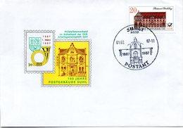 """(DDR-B2) DDR Sonderumschlag EF Mi 3068 """"100 Jahre Postgebäude SUHL"""" SSt 1.3.1987 SUHL 1 - Post"""